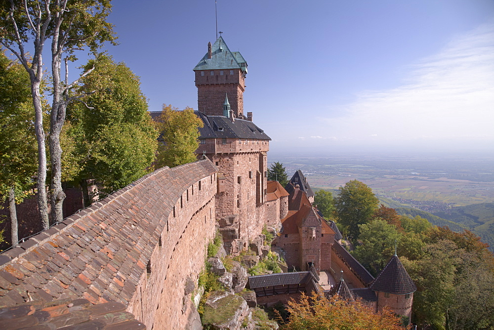 Haut-Koenigsbourg Castle, view of the exterior wall and keep overlooking the Alsace plain, from the grand bastion, Haut Rhin, Alsace, France, Europe - 770-1755