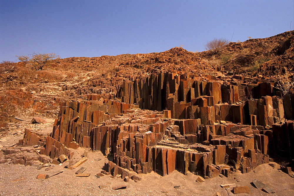 The Organ Pipes, dark brown intrusive dolerite, near the Burnt Mountain, Kunene region, Namibia, Africa - 770-1760