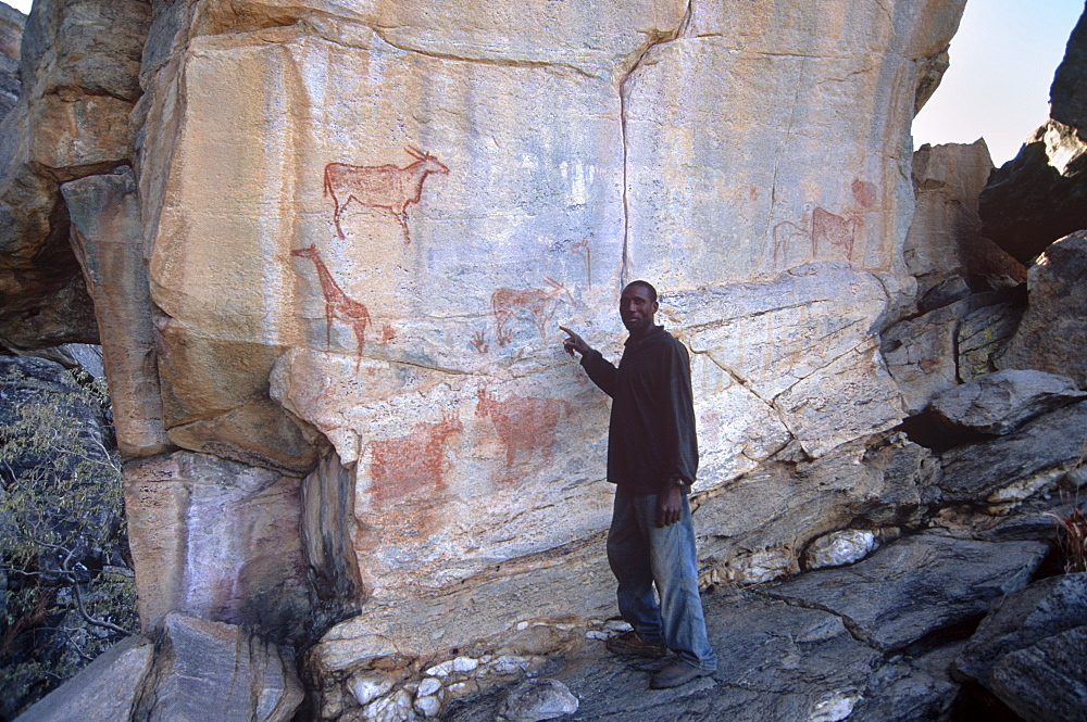 Hambukushu guide in front of famous Laurens Van der Post panel of rock art, Tsodilo Hills, UNESCO World Heritage Site, Ngamiland, Botswana, Africa - 770-1787