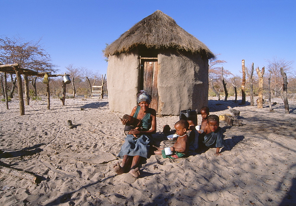San !Kung village at the foot of Tsodilo Hills, Ngamiland, Botswana, Africa - 770-1792