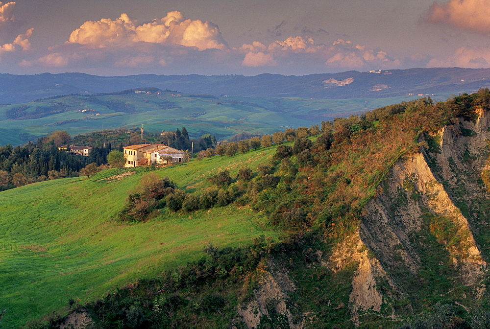 Landscape typical of the region, with spectacular landslides called locally balze, Volterra, Tuscany, Italy, Europe