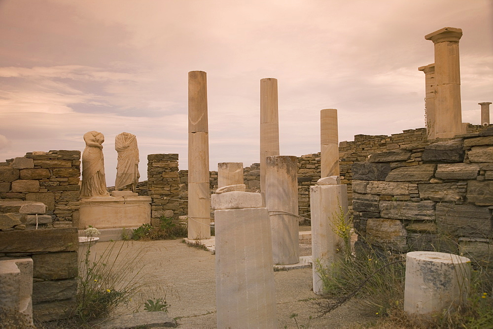 House of Cleopatra and Dioskuridis at archaeological site, Island of Delos, UNESCO World Heritage Site, Cyclades Islands, Greek Islands, Greece, Europe