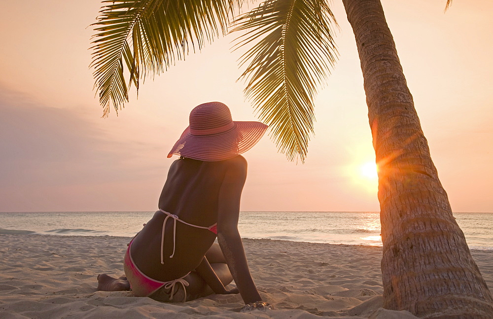 Jamaican Woman On Beach At Sunset Negril Jamaica West Indies Caribbean