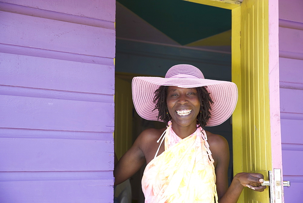 Jamaican woman in pink hat, Negril, Jamaica, West Indies, Caribbean, Central America - 772-1263