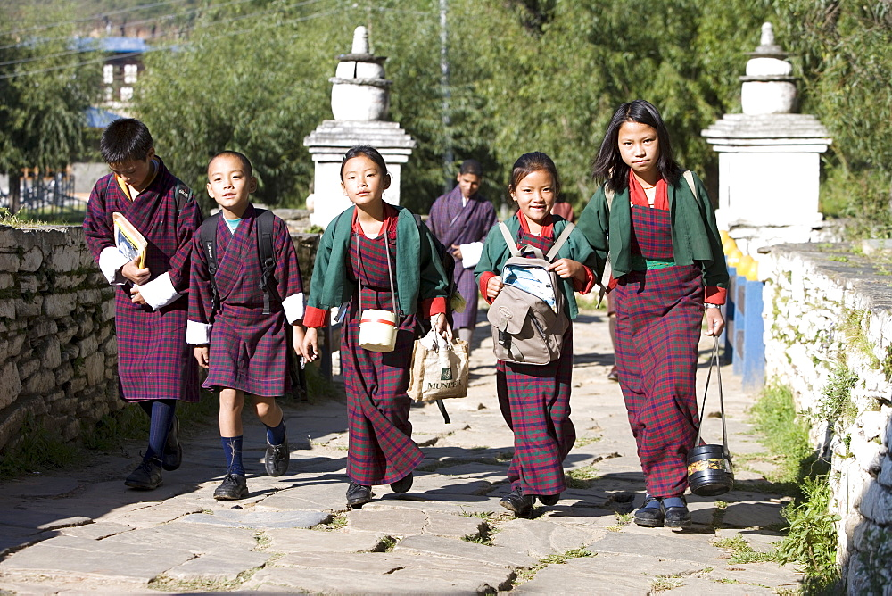Bhutanese children going to school, Paro, Bhutan, Asia