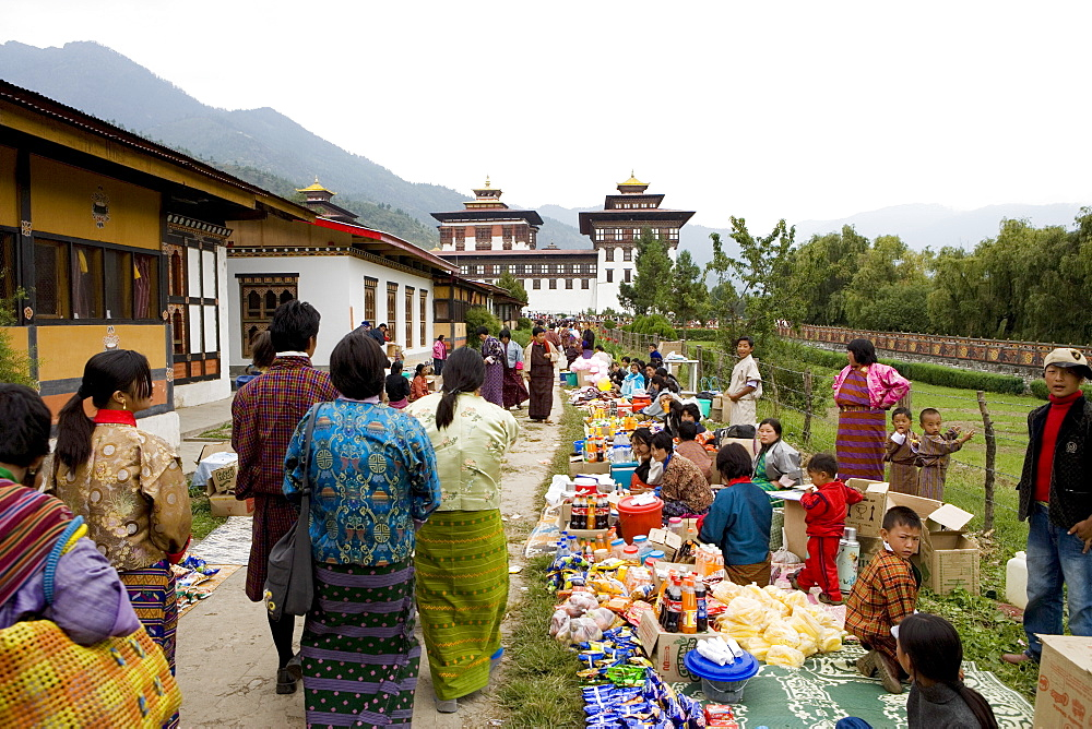 Market during Buddhist festival (Tsechu), Thimphu, Bhutan, Asia - 772-200