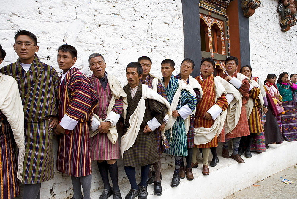 Bhutanese men in traditional dress, Buddhist festival (Tsechu), Trashi Chhoe Dzong, Thimphu, Bhutan, Asia - 772-214