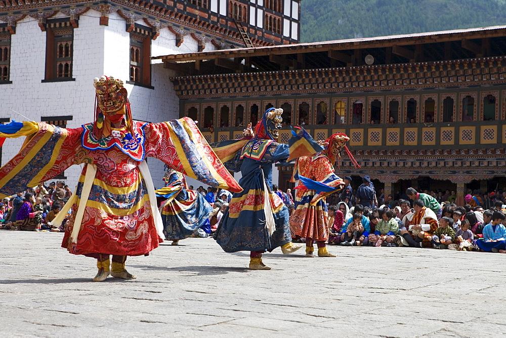 Buddhist festival (Tsechu), Trashi Chhoe Dzong, Thimphu, Bhutan, Asia - 772-225