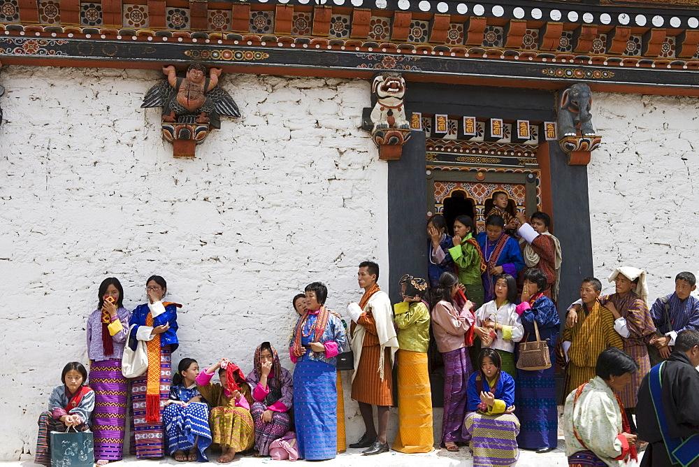 Buddhist festival (Tsechu), Trashi Chhoe Dzong, Thimphu, Bhutan, Asia - 772-229