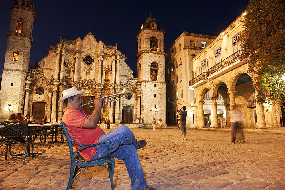 Trumpet player, Plaza de la Catedral, Havana, Cuba, West Indies, Central America