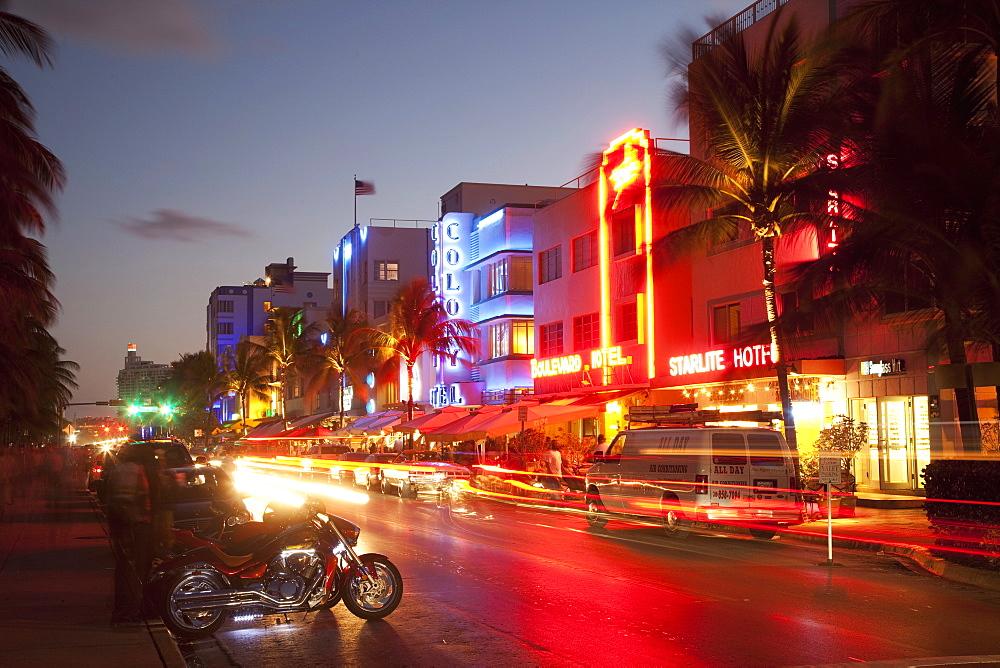 Ocean Drive, South Beach, Art Deco district, Miami Beach, Miami, Florida, United States of America, North America