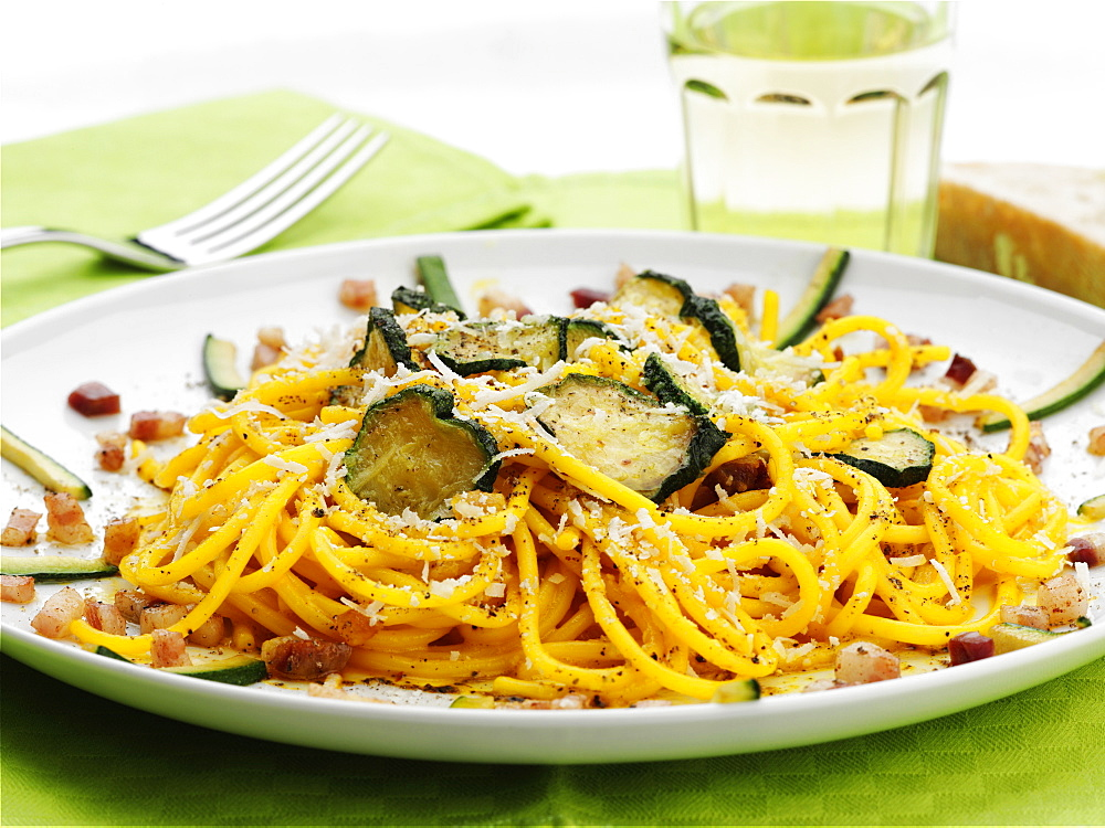 Spaghetti with zucchini, Italy, Europe