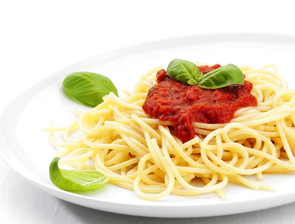 Spaghetti with tomato sauce, Italy, Europe