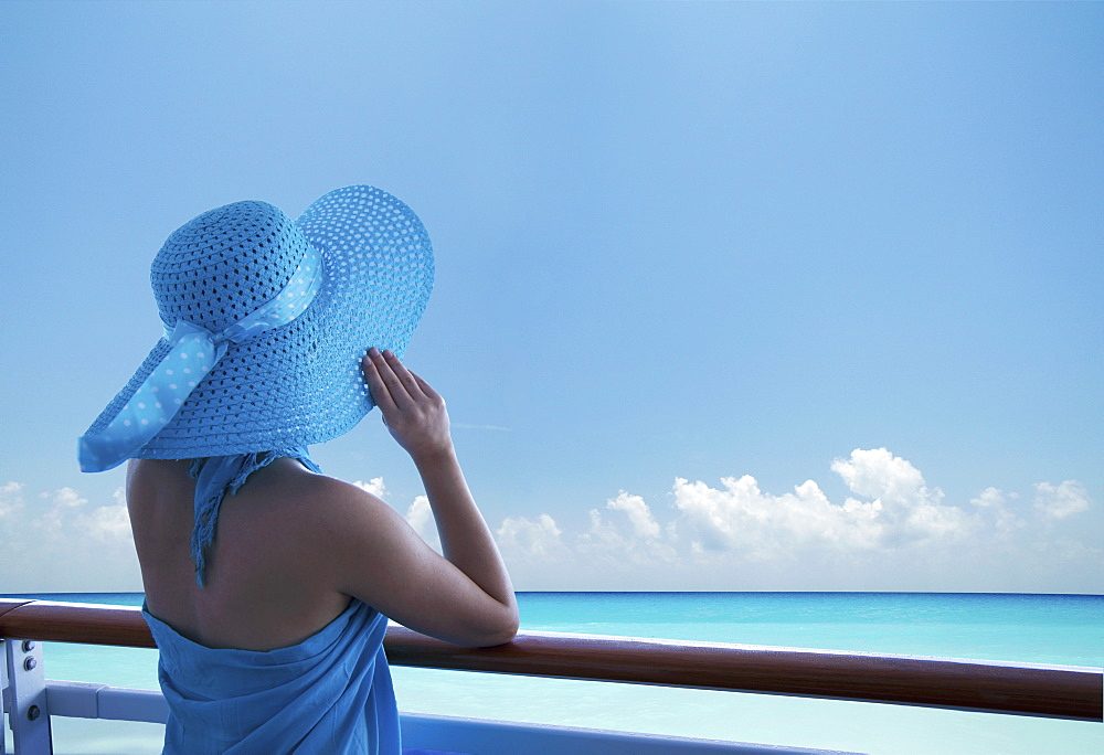 Woman on a cruise ship, Nassau, Bahamas, West Indies, Caribbean, Central America