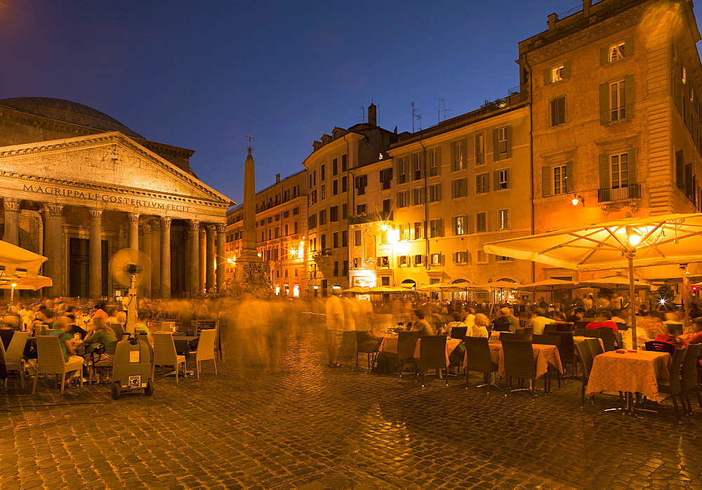 People dining at outside restaurant near The Pantheon, Rome, Lazio, Italy, Europe