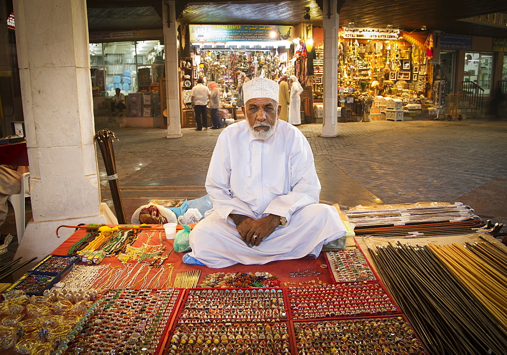 Merchant in Muscat's Souk, Muscat, Oman, Middle East