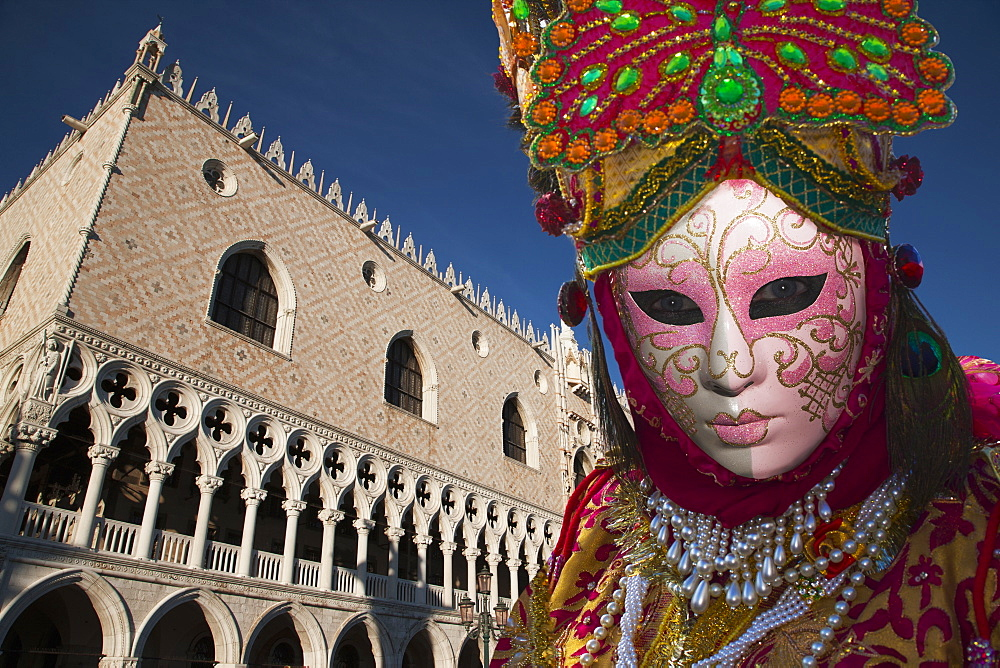 Mask in San Marco Square during Venice Carnival, Venice, UNESCO World Heritage Site, Veneto, Italy, Europe - 772-3276