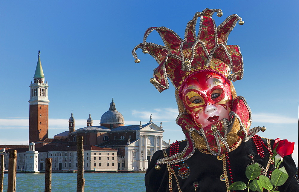 Mask during Venice Carnival, Venice, UNESCO World Heritage Site, Veneto, Italy, Europe
