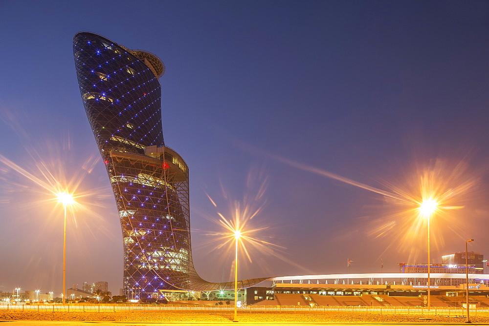 Futuristic skyscraper in Abu Dhabi, United Arab Emirates, Middle East
