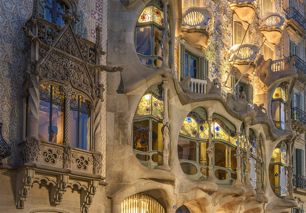 Casa Batllo, UNESCO World Heritage Site, Barcelona, Catalonia, Spain, Europe - 772-3706