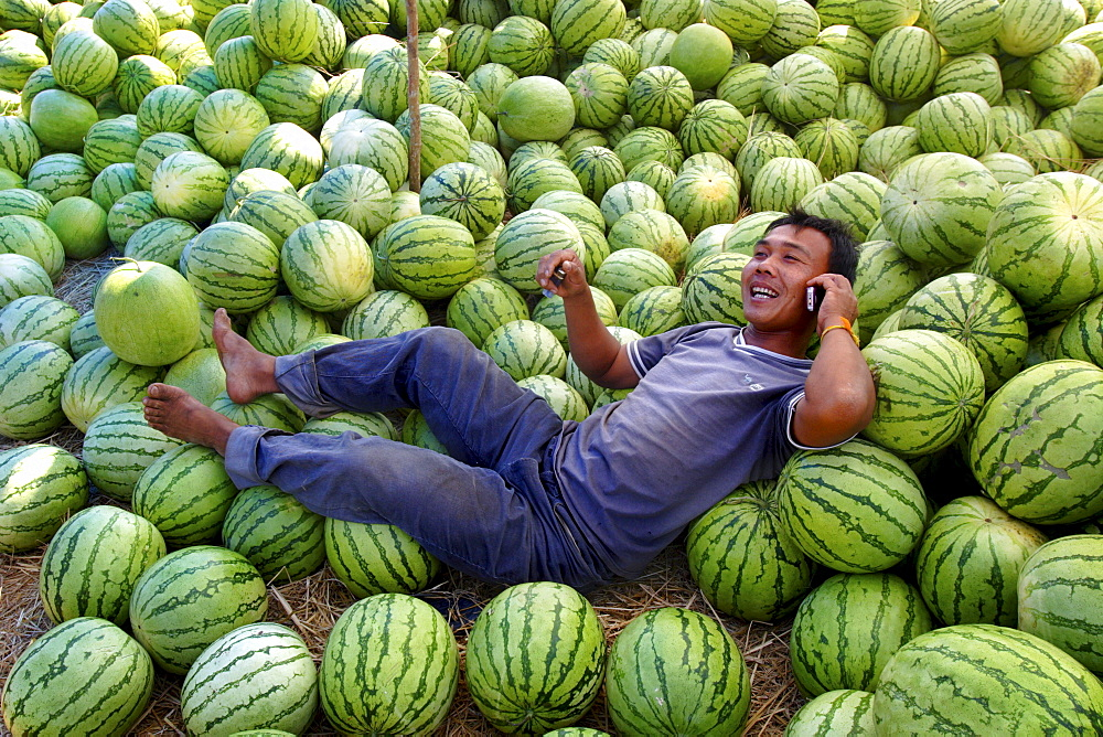 A man talks on his mobile phone under the shade of his watermelon stall, Savannakhet, Laos, Indochina, Southeast Asia, Asia - 774-125