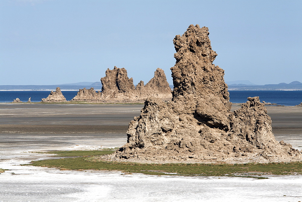 The desolate landscape of Lac Abbe, dotted with limestone chimneys, Djibouti, Africa