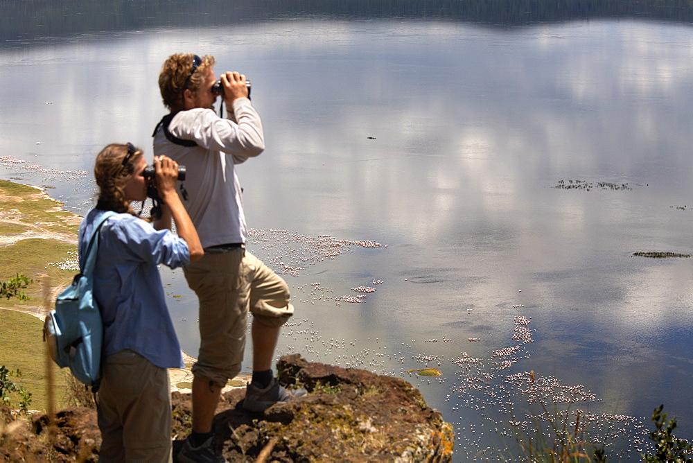 Tourists look down on Lake Nakuru, Lake Nakuru National Park, Kenya, East Africa, Africa - 774-815