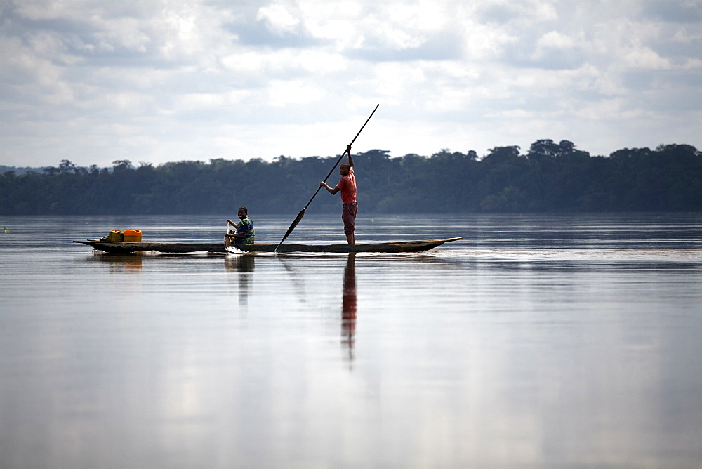 River traffic on the Congo River, Democratic Republic of Congo, Africa
