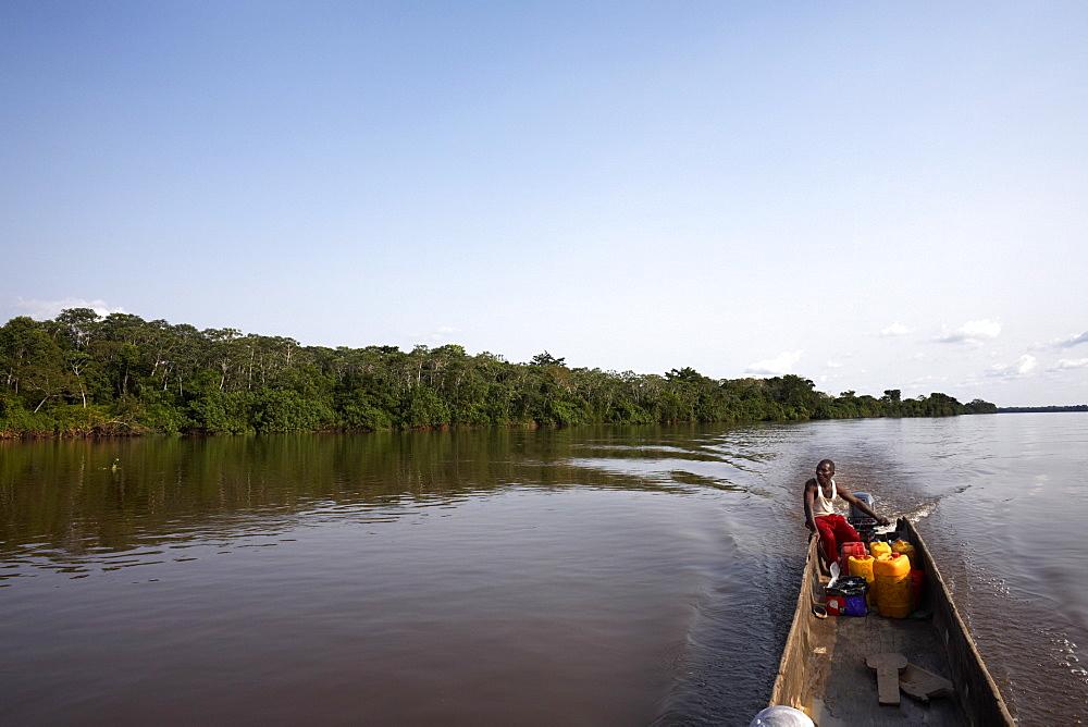A dugout canoe on the Congo River, Democratic Republic of Congo, Africa - 774-838