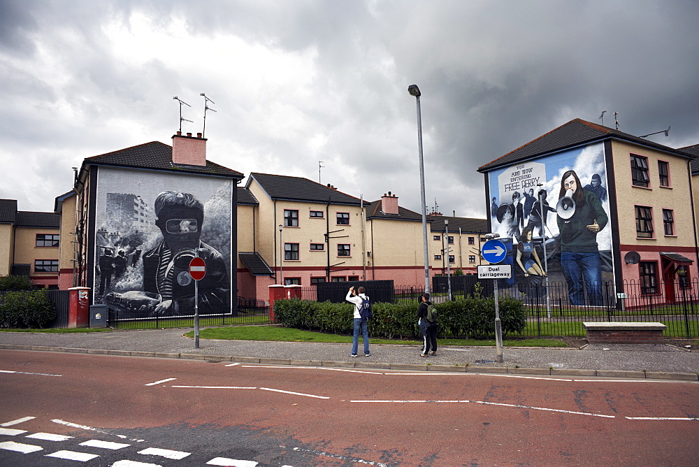 Political murals on the walls of houses in Derry, Northern Ireland, United Kingdom, Europe
