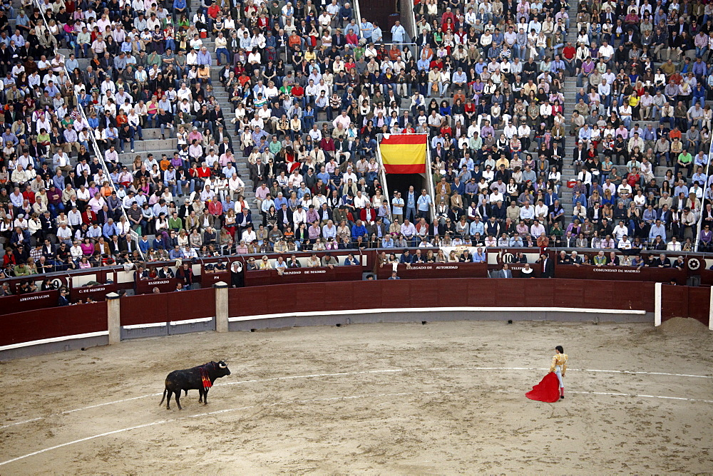 A bullfight takes place in Las Ventas, Madrid, Spain, Europe