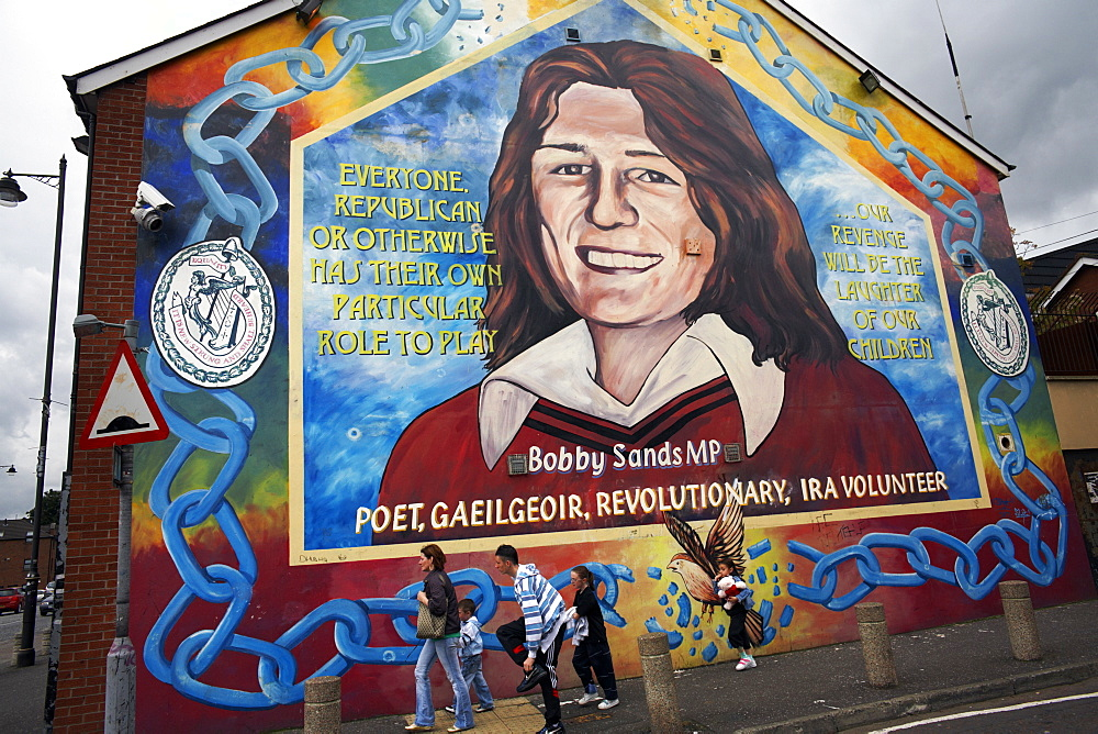 A political mural depicting Bobby Sands is seen on the Falls Road, Belfast, Northern Ireland, United Kingdom, Europe