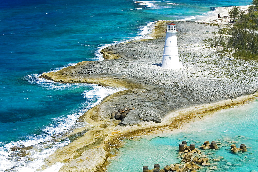 Paradise Island Lighthouse, Nassau Harbour, New Providence Island, Bahamas, West Indies, Central America