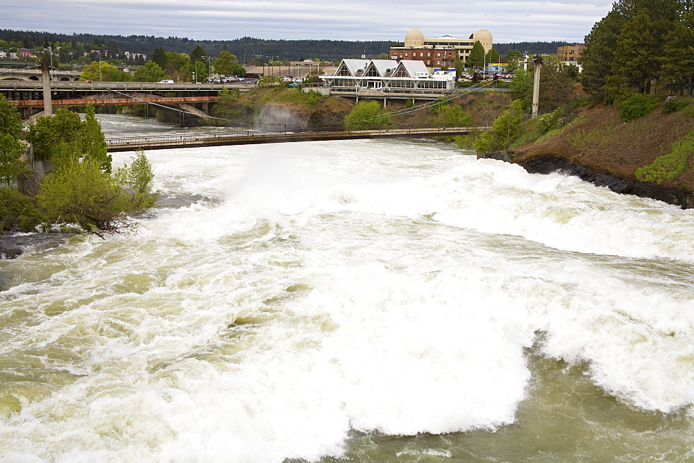 Spokane River in Major Flood, Riverfront Park, Spokane, Washington State, United States of America, North America