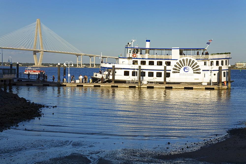 Tour Boat and Arthur Ravenel Jr. Bridge, Liberty Square, Charleston, South Carolina, United States of America, North America