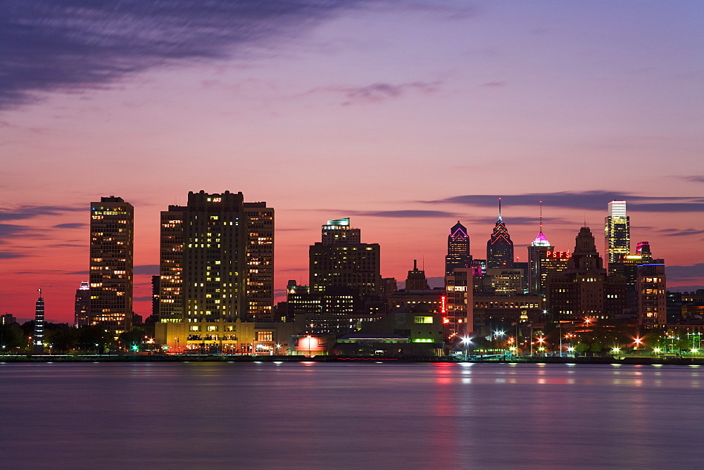 Philadelphia skyline and Delaware River, Philadelphia, Pennsylvania, United States of America
