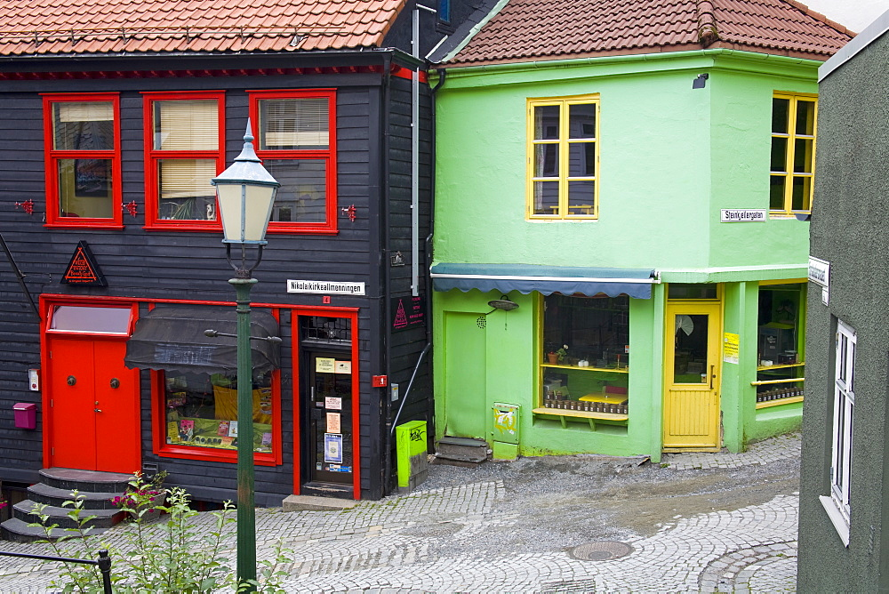 Wooden buildings in the Old Town District, Bergen City, Hordaland District, Norway, Scandinavia, Europe - 776-1809
