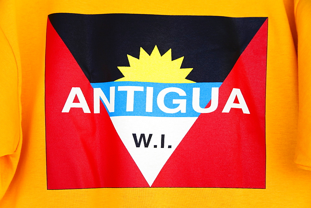 Antigua and Barbuda national flag on a teeshirt, St. Johns, Antigua Island, Antigua and Barbuda, Leeward Islands, Lesser Antilles, West Indies, Caribbean, Central America