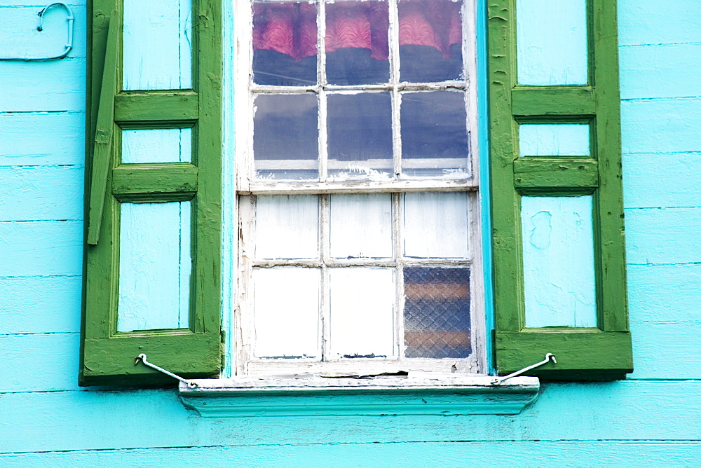 Window shutters, St. Johns, Antigua Island, Antigua and Barbuda, Leeward Islands, Lesser Antilles, West Indies, Caribbean, Central America