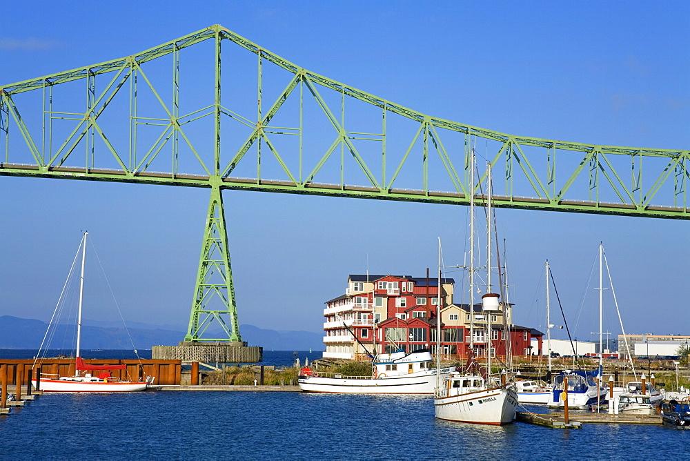 Yacht marina and Astoria Bridge over the Columbia River, Oregon, United States of America, North America