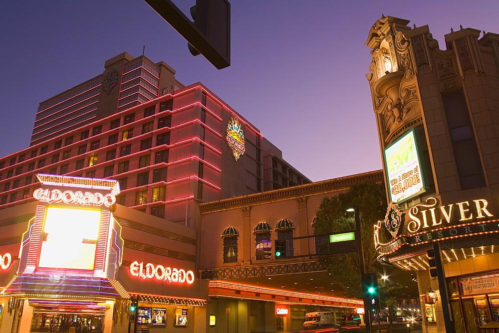 Eldorado and Silver Legacy Casinos on Virginia Street, Reno, Nevada, United States of America, North America