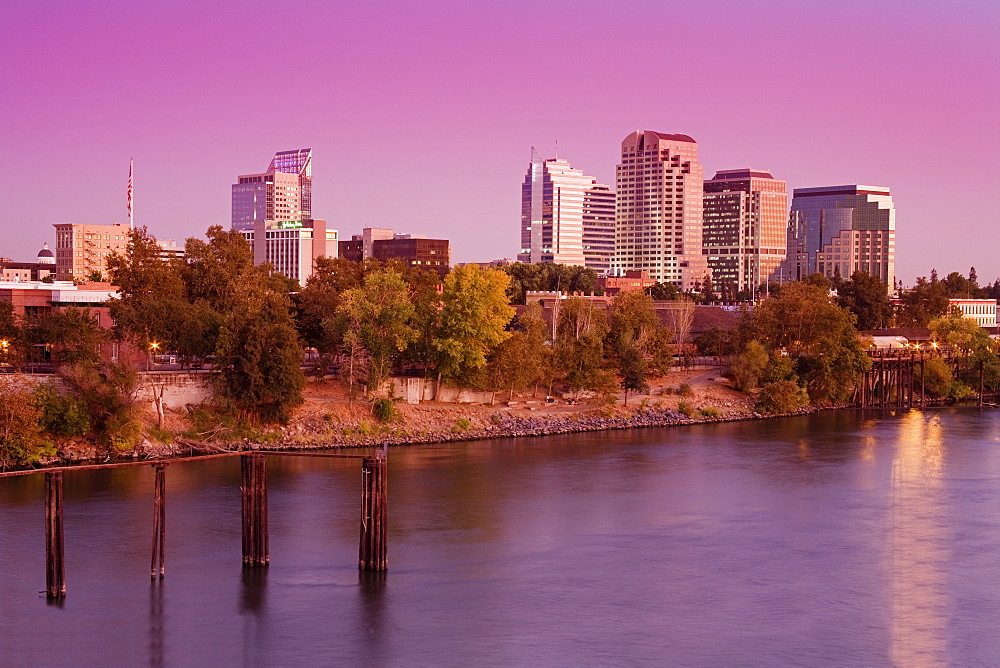 Sacramento River and skyline, Sacramento, California, United States of America, North America