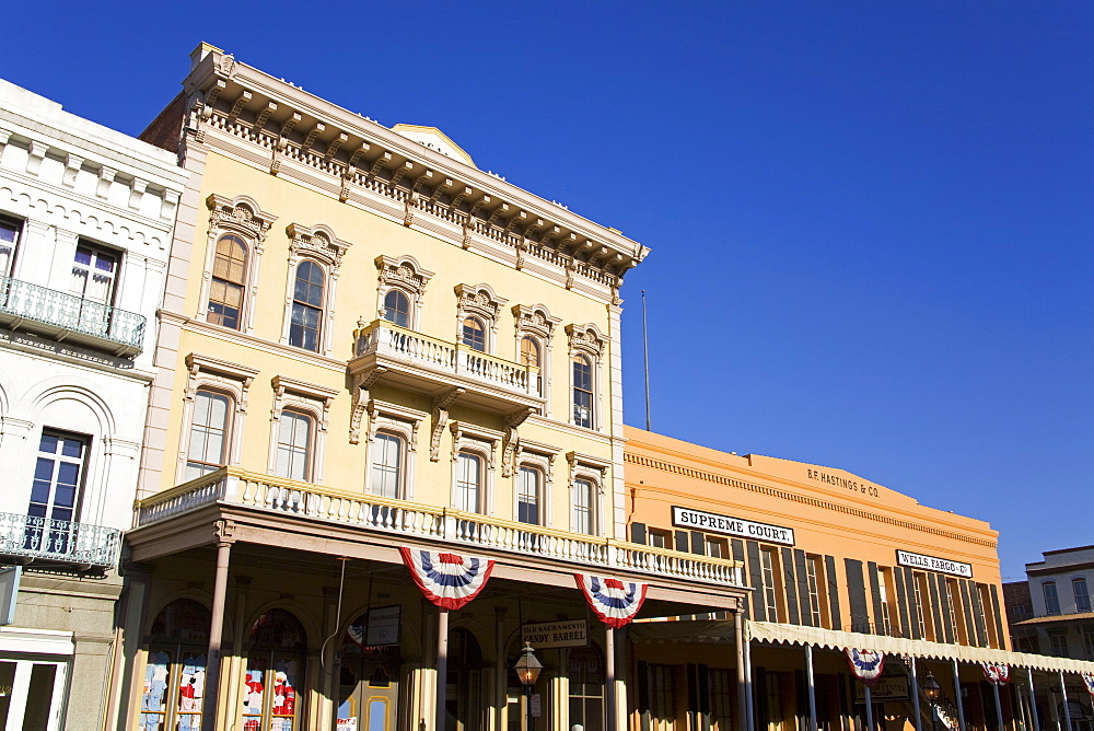 Historic buildings on 2nd Street in Old Town Sacramento, California, United States of America, North America