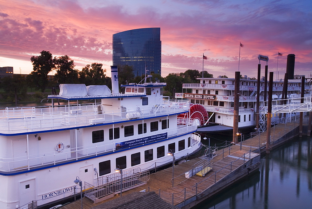 Empress Hornblower and Delta King paddle steamers in Old Town Sacramento, California, United States of America, North America
