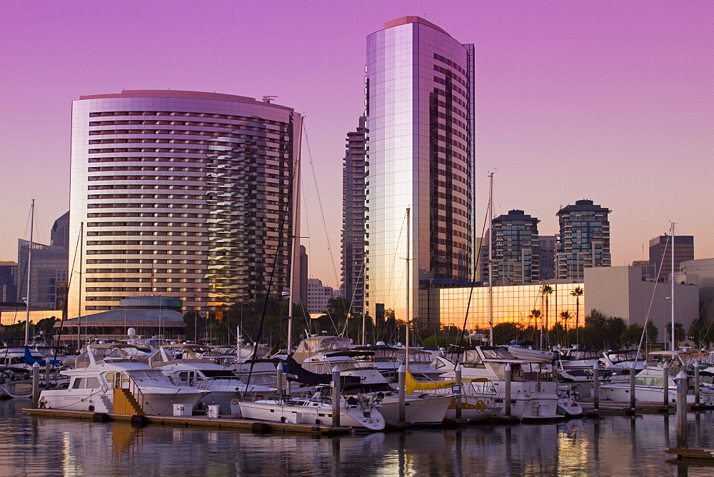 Marriott Hotel and Embarcadero Marina, San Diego, California, United States of America, North America