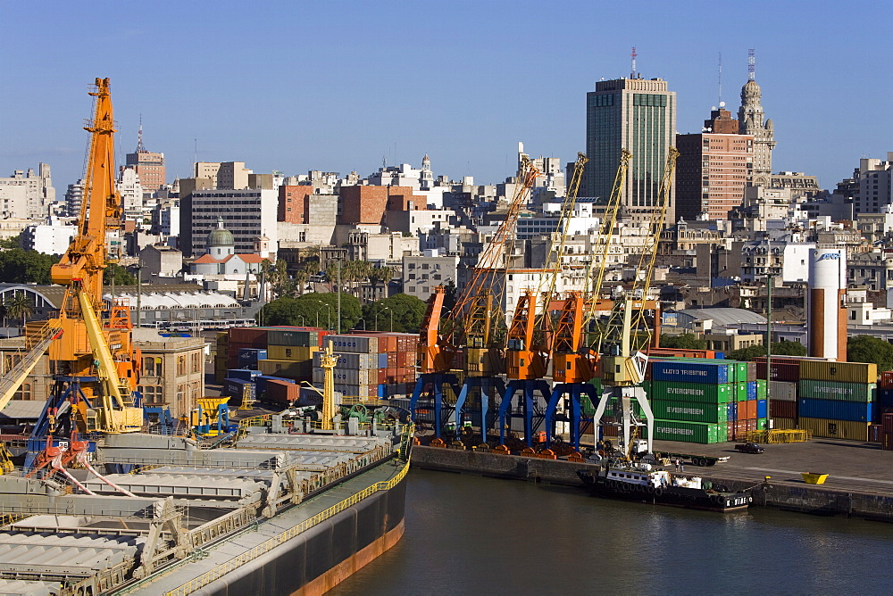 Container Port and city skyline, Montevideo, Uruguay, South America