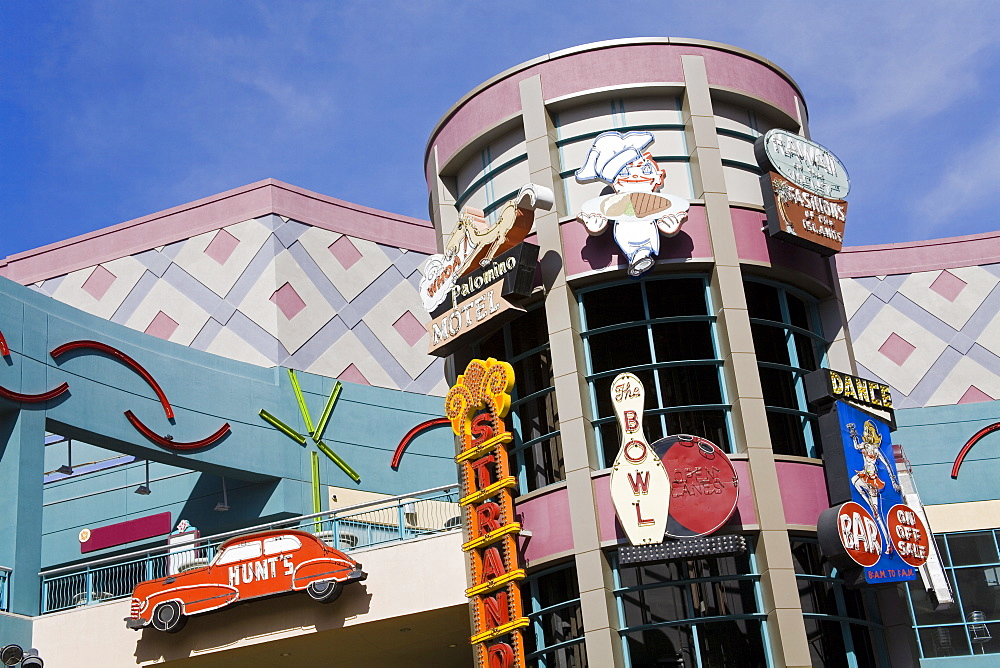 Historic neon signs in the Neonopolis Mall on Fremont Street, Las Vegas, Nevada, United States of America, North America