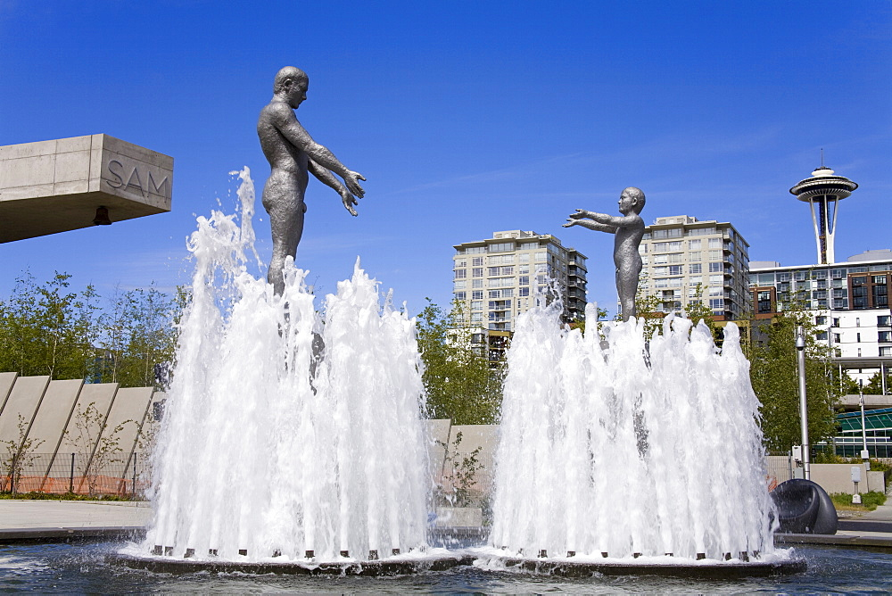 Fountain at Olympic Sculpture Park, Seattle, Washington State, United States of America, North America