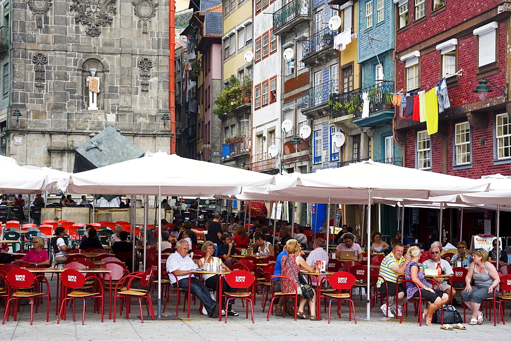 Outdoor dining on Ribeira Square, Porto, Portugal, Europe