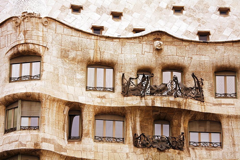 Casa Mila (La Pedrera) by Gaudi, UNESCO World Heritage Site, Barcelona, Catalonia, Spain, Europe - 776-2652